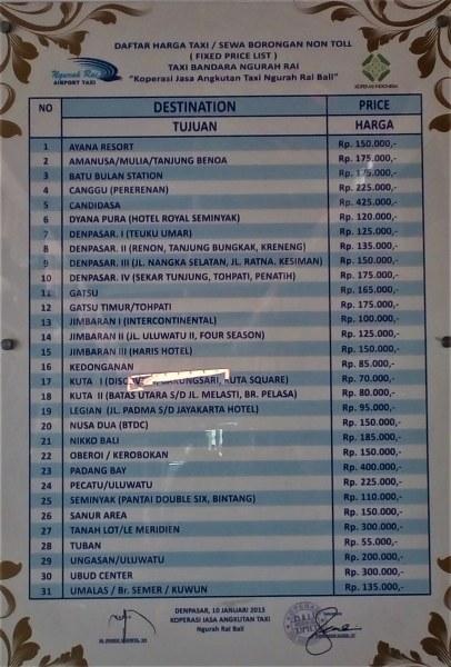 Harga Resmi Taksi Bandara Di Bandara Ngurah Rai Denpasar