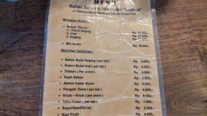 Harga Mie dan Bakso Lodaya Bandung