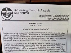 Mengikuti Kebaktian Minggu di GKI Perth Australia Barat